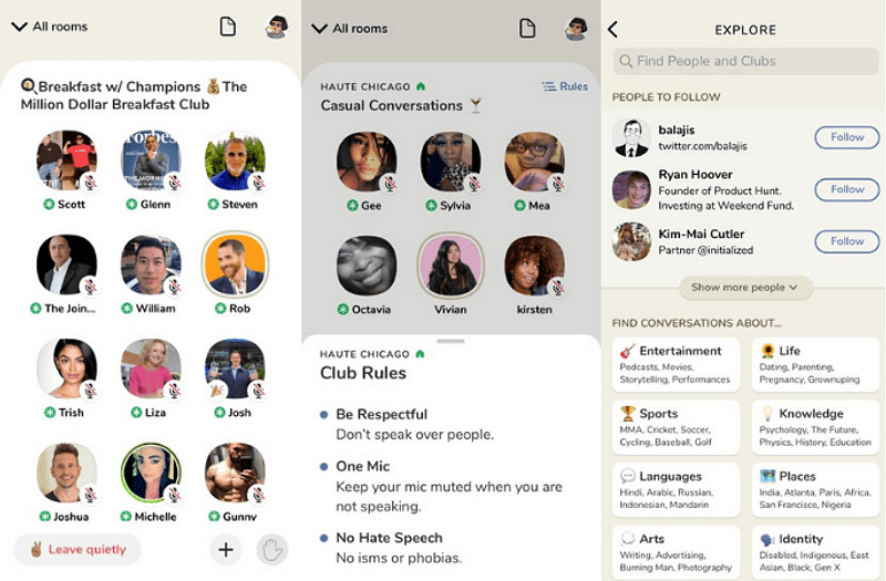 Clubhouse Audio Chat - In App Screens