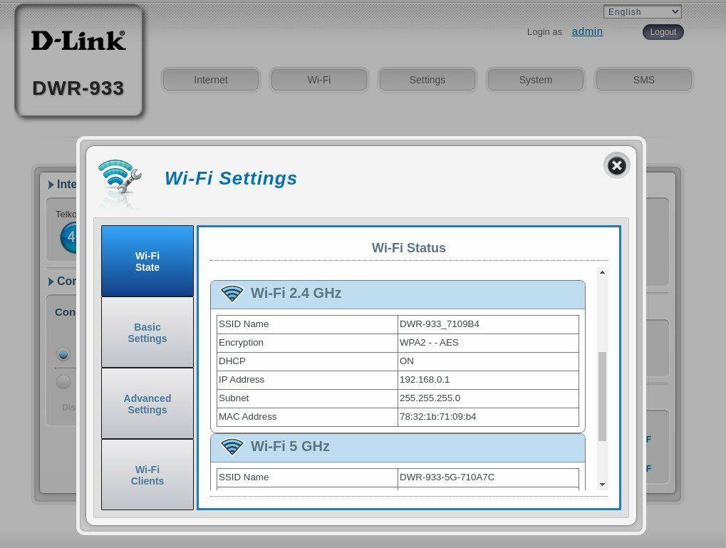 D-Link DWR933 - Admin Screen 2
