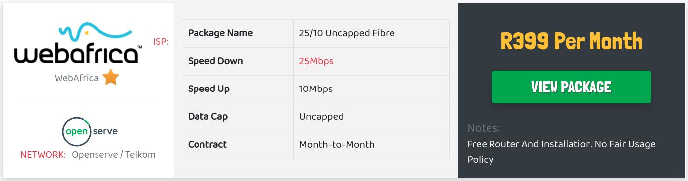 webafrica openserve fibre special