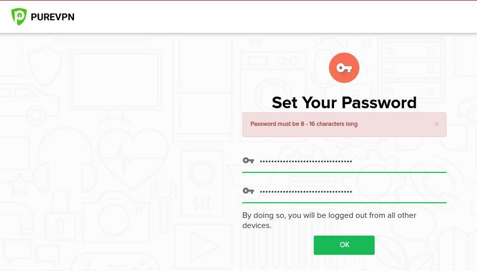 PureVPN - Set Your Password