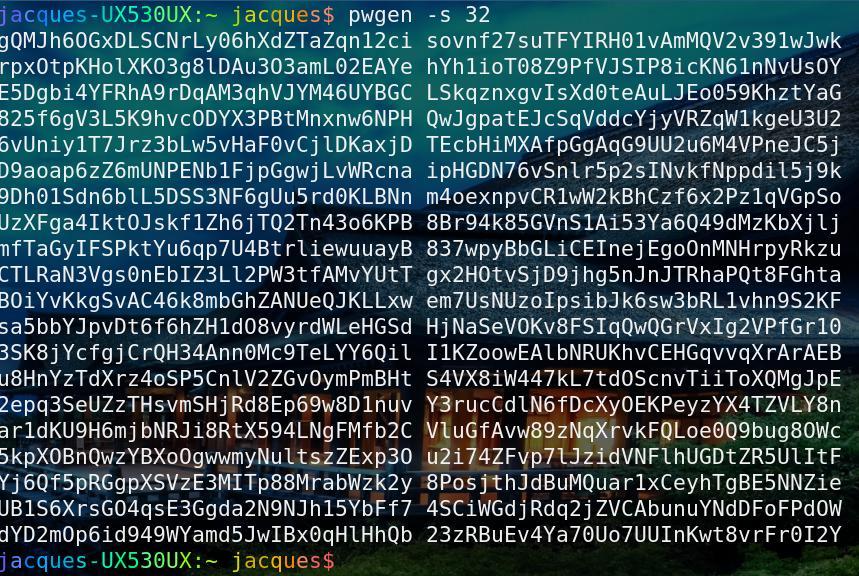 pwgen - linux secure password generation